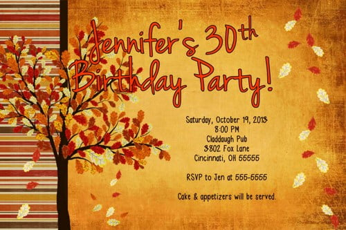 fall 30th birthday invitations
