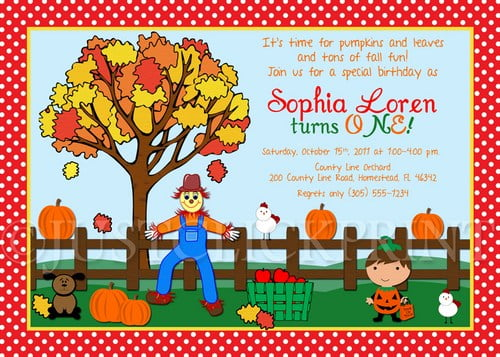fall ahrvest  birthday invitations