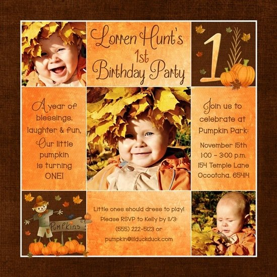 fall first  birthday invitations