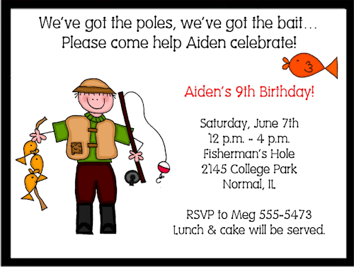 fishing birthday invitations wording
