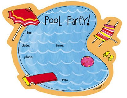 free printable kids pool party birthday invitations
