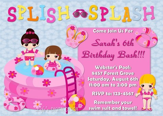 free printable pink pool party birthday invitations