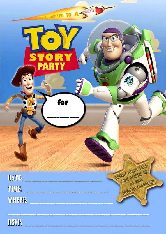 free printable toy story ticket birthday invitations