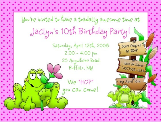 Frog Wedding Invitations: Frog Birthday Invitations Ideas