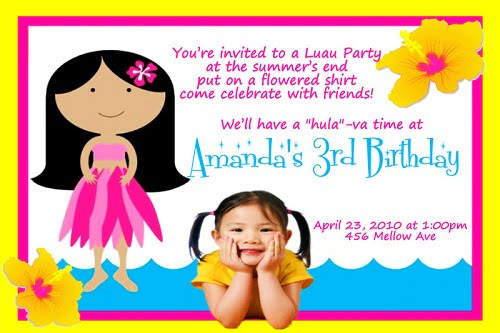 Hawaiian 3rd Birthday Invitations