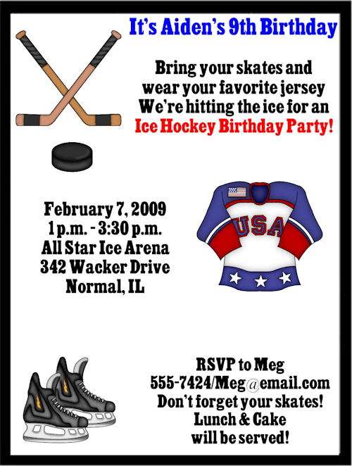 Hockey Birthday Invitations Wording