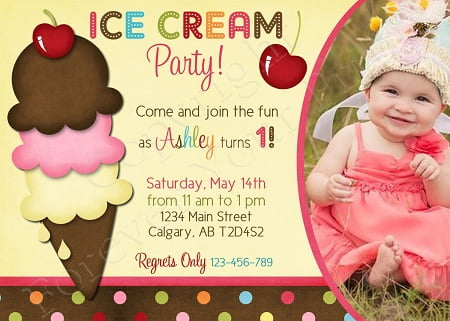 Ice Cream Birthday Invitations Girls