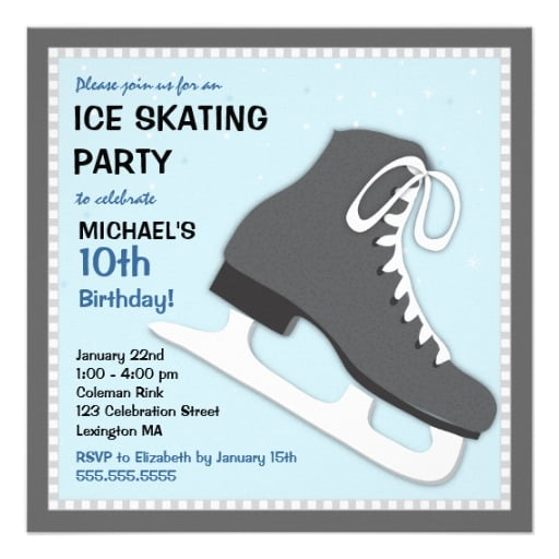 image regarding Hockey Skate Template Free Printable identified as Ice Skating Birthday Invites Recommendations No cost Printable