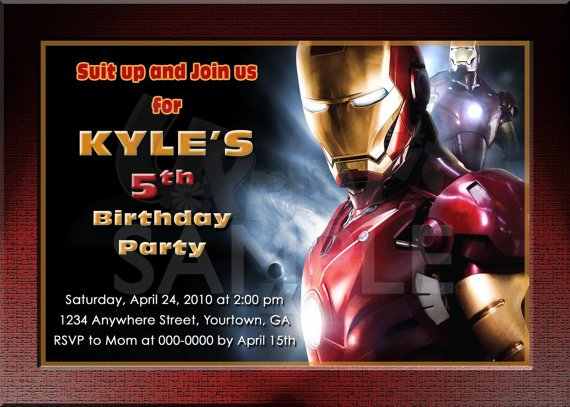 iron man 5th birthday invitations