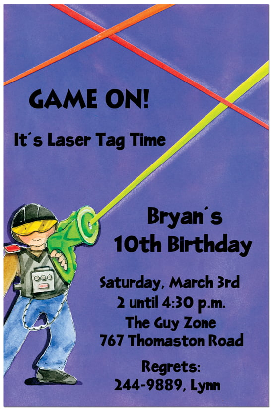 photo about Laser Tag Birthday Invitations Free Printable referred to as laser tag 10th birthday invites Free of charge Printable