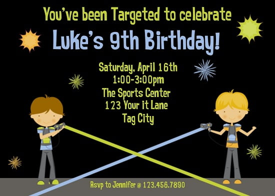 Laser Tag Birthday Party Invitations Ideas – Bagvania FREE ...
