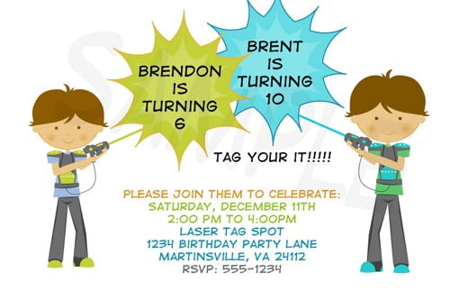 Laser tag birthday party invitations template bagvania free laser tag birthday party invitations template filmwisefo