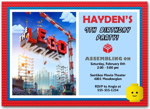 lego movie birthday party invitations