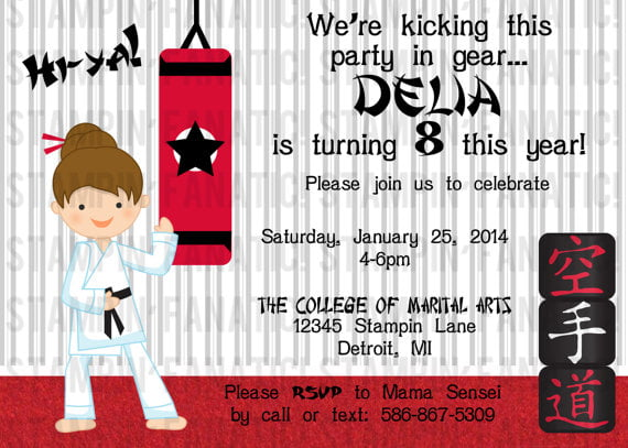 Martial Arts Birthday Invitations Ideas Bagvania FREE Printable – Martial Arts Birthday Invitations