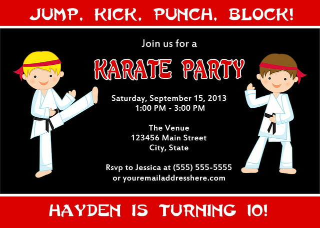 Martial Arts Birthday Invitations Ideas – Bagvania FREE ...