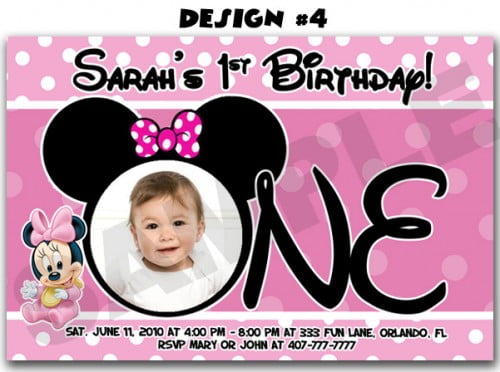 Minnie Mouse First Birthday Party Invitations