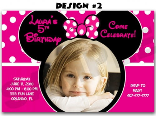 Minnie Mouse Photo 5th Birthday Party Invitations