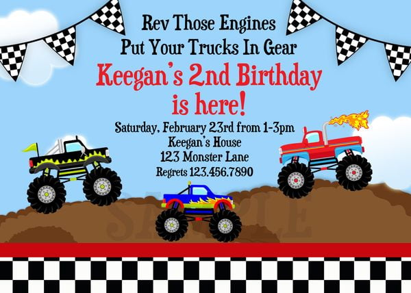 monster truck birthday invitation wording