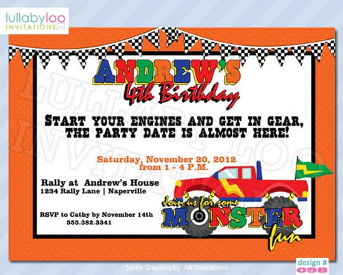 monster truck birthday invitations for boys