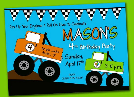 monster truck birthday invitations printable