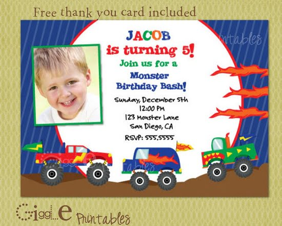monster truck photo birthday invitations