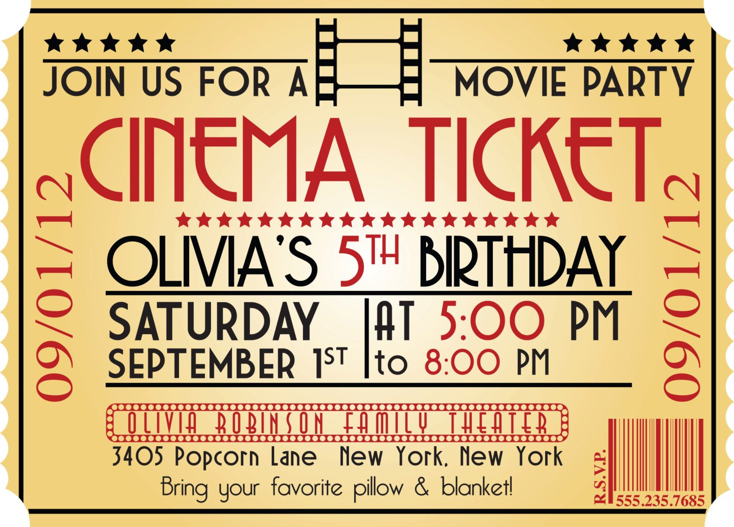 Movie Ticket Birthday Invitations Ideas Bagvania Free