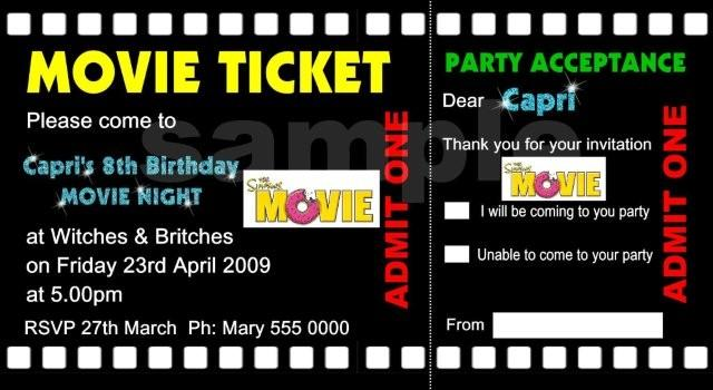 movie ticket birthday invitations for kids