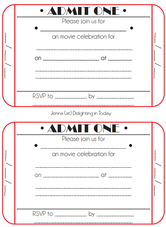 printable movie ticket invitation templates