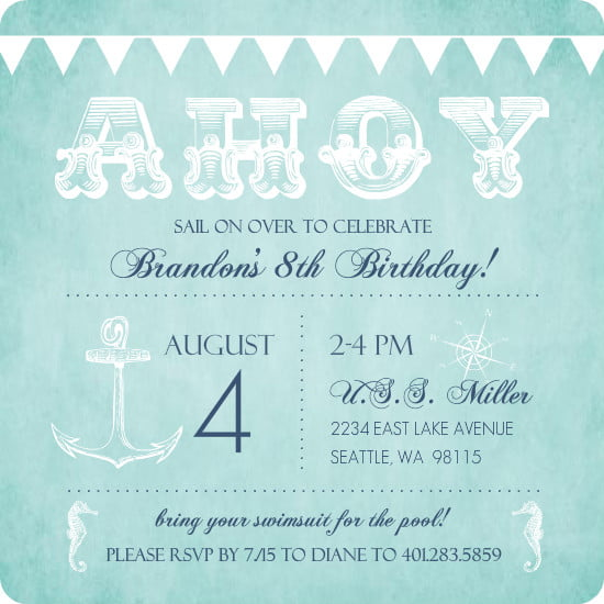 Nautical Birthday Invitations For Kids