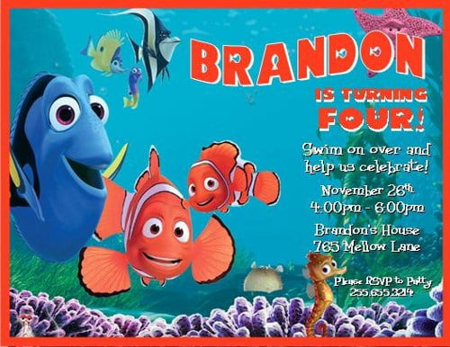 nemo birthday invitations wording