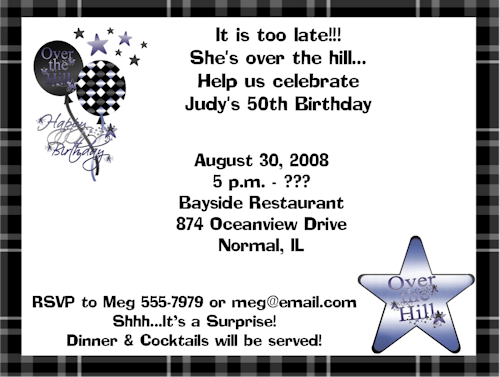 over the hill 50th birthday invitations ideas