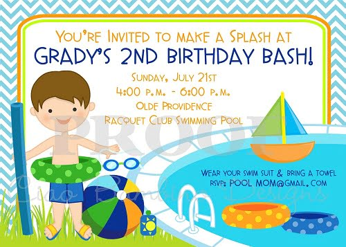 pool birthday party invitations boys