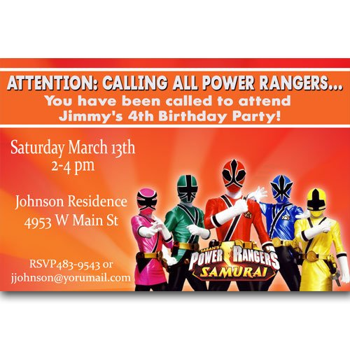 power rangers samurai birthday invitations