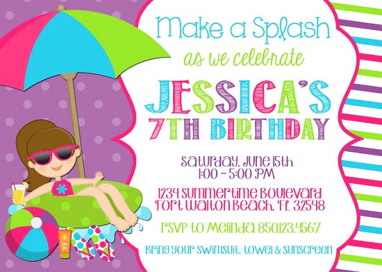 printable pool party birthday invitations
