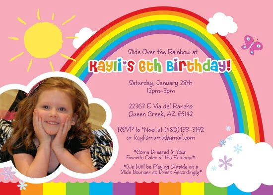 Rainbow Birthday Party Invitation Wording