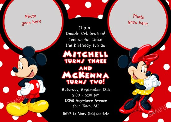 Red Minnie Mouse Birthday Invitations Ideas Wording