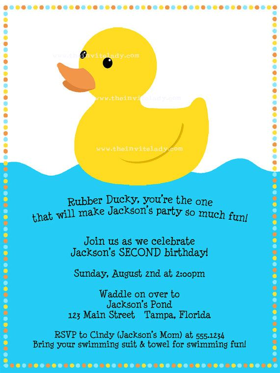rubber ducky birthday invitations wording Bagvania FREE Printable