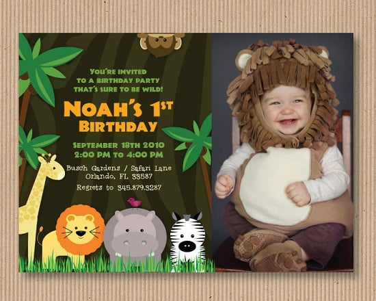 Safari Zoo Birthday Invitations