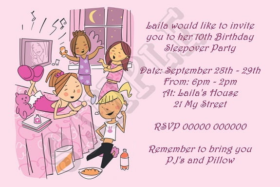Sleepover Birthday Party Invitations Wording