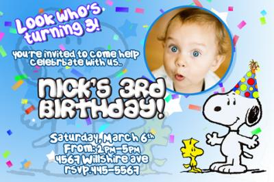 Snoopy 3rd Birthday Invitations Ideas