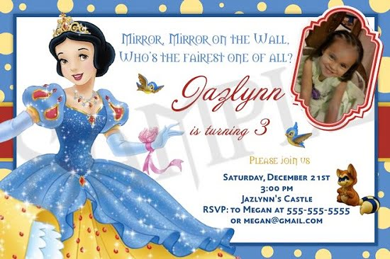 image relating to Snow White Invitations Printable known as snow white 3rd birthday invites Totally free Printable