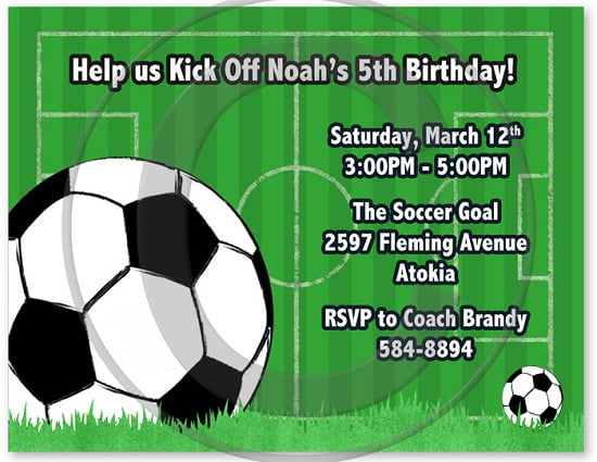 soccer 5th birthday invitations