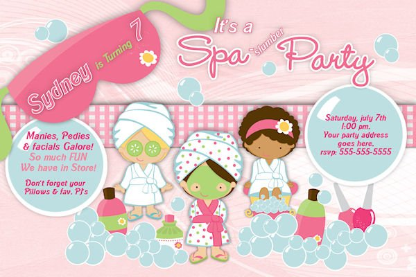 Spa Birthday Party Custom Invitations  Free Customizable Invitation Templates