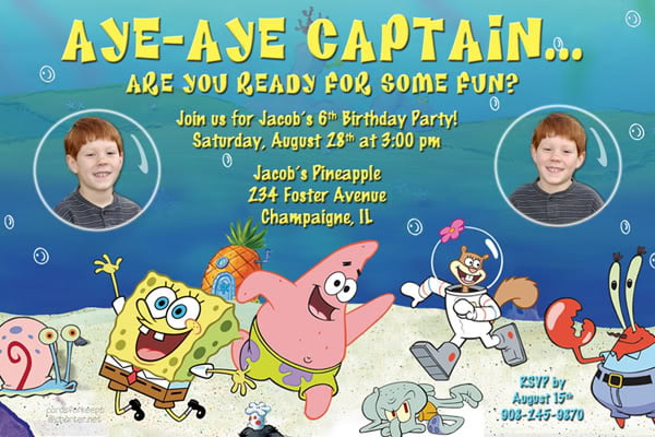 Spongebob Birthday Invitations Cards