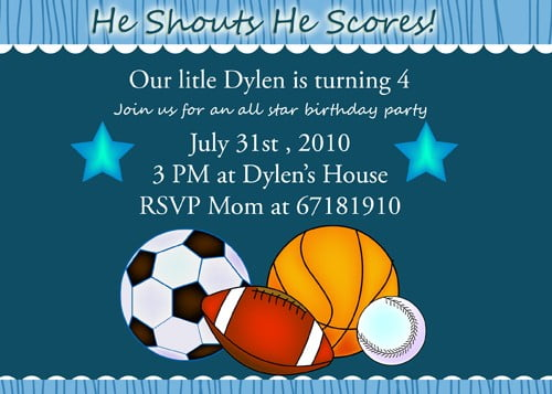 Free Sports Birthday Invitation Templates Custom Invitations – Free Printable Sports Birthday Invitations