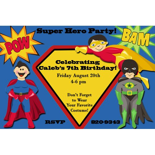 superhero birthday party invitations boys - Superhero Birthday Party Invitations