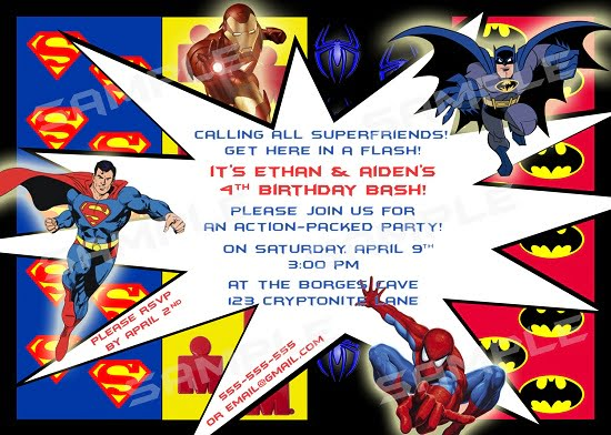 Superhero Mania Birthday Party Invitations