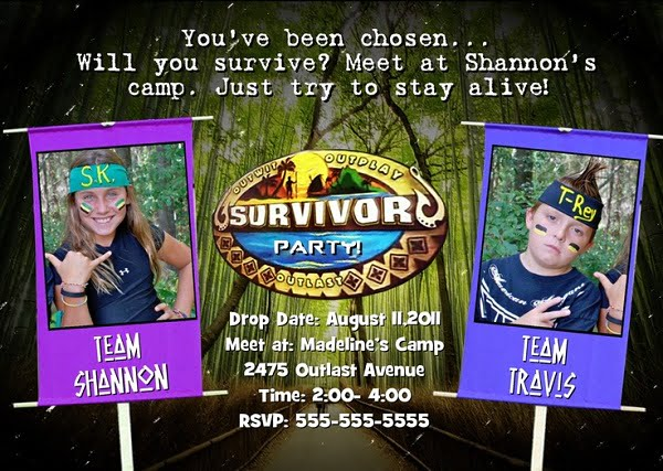 survivor birthday party photo invitations ideas