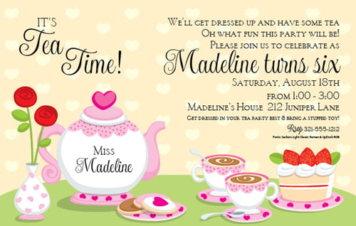 Tea Party Birthday Invitations For Kids