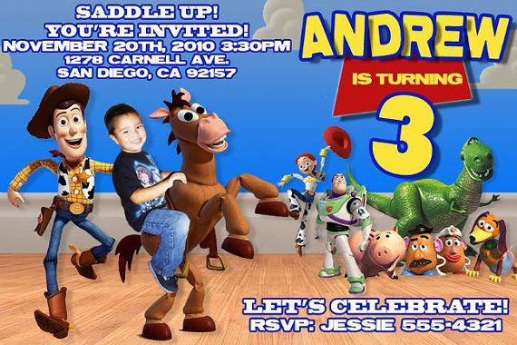 toy story birthday party invitations boy
